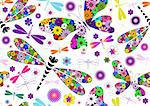 Seamless white floral pattern with colorful dragonflies and butterflies (vector) Stock Photo - Royalty-Free, Artist: OlgaDrozd                     , Code: 400-06093018