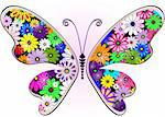 Vivid fantasy floral abstract butterfly for design on white-pink (vector) Stock Photo - Royalty-Free, Artist: OlgaDrozd                     , Code: 400-06093198