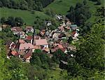 Image of a typical Alsatian village located in a valley near Colmar in Vosges Mountains in north-eastern France. Stock Photo - Royalty-Free, Artist: RazvanPhotography             , Code: 400-06093386
