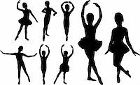 Set of ballet girls dancers silhouettes Stock Photo - Royalty-Freenull, Code: 400-06093607