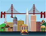 San Francisco California City Skyline with Golden Gate Bridge Illustration Stock Photo - Royalty-Free, Artist: jpldesigns                    , Code: 400-06093657