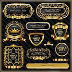 Decorative ornate gold frame label Stock Photo - Royalty-Free, Artist: hugolacasse                   , Code: 400-06093908