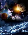 Maya prophecy. Vertical background with space scene Stock Photo - Royalty-Free, Artist: frenta                        , Code: 400-06094270