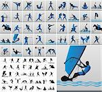 vector collection of sporting silhouettes Stock Photo - Royalty-Free, Artist: vesolog                       , Code: 400-06094479