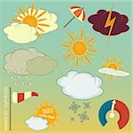 Set of Weather symbols and icons in retro style - vector illustration