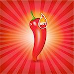 Sunburst Background With Red Hot Pepper, Vector Illustration Stock Photo - Royalty-Free, Artist: adamson                       , Code: 400-06094736
