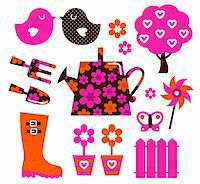 Spring and gardening icons set. Vector Stock Photo - Royalty-Freenull, Code: 400-06095549