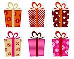 Set of patterned gift boxes for birthday / xmas. Vector Illustration Stock Photo - Royalty-Free, Artist: lordalea                      , Code: 400-06095570