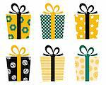 Set of patterned gift boxes for birthday / xmas. Vector Stock Photo - Royalty-Free, Artist: lordalea                      , Code: 400-06096104