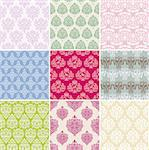 set of seamless retro background vector illustration Stock Photo - Royalty-Free, Artist: SelenaMay                     , Code: 400-06096125