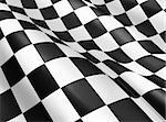 Black and white checkered flag background, start and finish flag, sport and race theme, wavy cloth and textile, victory lap symbol.