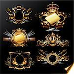 set of ornamental golden labels, this illustration may be useful as designer work Stock Photo - Royalty-Free, Artist: kjolak                        , Code: 400-06097245