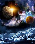 Maya prophecy. Vertical background with space scene Stock Photo - Royalty-Free, Artist: frenta                        , Code: 400-06097299