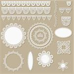 vector lacy scrapbook design elements, can be used as napkins, borders, ribbons and other decorations Stock Photo - Royalty-Free, Artist: alexmakarova                  , Code: 400-06097344