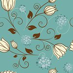 seamless pattern with flowers on a blue background Stock Photo - Royalty-Free, Artist: odina222                      , Code: 400-06097346