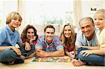 Family Playing Board Game At Home With Grandparents Watching Stock Photo - Royalty-Free, Artist: MonkeyBusinessImages          , Code: 400-06098363