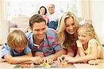 Family Playing Board Game At Home With Grandparents Watching Stock Photo - Royalty-Free, Artist: MonkeyBusinessImages          , Code: 400-06098366