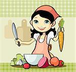 Vector illustration of a girl prepares a meal Stock Photo - Royalty-Free, Artist: katarinka                     , Code: 400-06098489