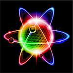 Green atom electron. illustration on black background Stock Photo - Royalty-Free, Artist: dvarg                         , Code: 400-06098584
