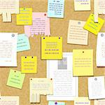 seamless cork bulletin board with notes, cards, advertise Stock Photo - Royalty-Free, Artist: 100ker                        , Code: 400-06098607