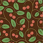 seamless vector pattern with red cherries background Stock Photo - Royalty-Free, Artist: 100ker                        , Code: 400-06098610