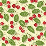 seamless vector pattern with red cherries background Stock Photo - Royalty-Free, Artist: 100ker                        , Code: 400-06098611