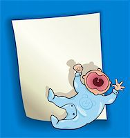 cartoon design illustration with blank page and little baby Stock Photo - Royalty-Freenull, Code: 400-06099212