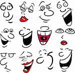 Cartoon faces and emotions for humor or comics design Stock Photo - Royalty-Free, Artist: izakowski                     , Code: 400-06099222
