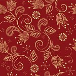 seamless pattern with flowers on a red background Stock Photo - Royalty-Free, Artist: odina222                      , Code: 400-06099373