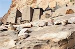 Granaries in a Dogon village, Mali (Africa).  The Dogon are best known for their mythology, their mask dances, wooden sculpture and their architecture.