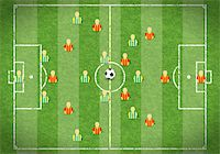 Football Field with Marking, Icon Soccer Player and Ball, vector illustration Stock Photo - Royalty-Freenull, Code: 400-06099525