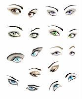 Set of 9 beautiful glamour woman?s eyes and eyebrows. Stock Photo - Royalty-Freenull, Code: 400-06099737
