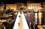 Dalmatian city of Zadar harbor pedestrian bridge at night Stock Photo - Royalty-Free, Artist: xbrchx                        , Code: 400-06099874