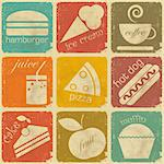 set of Vintage Food Labels - Retro Signs with Grunge Effect - vector illustration Stock Photo - Royalty-Free, Artist: elfivetrov                    , Code: 400-06100226
