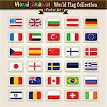Hand Draw World Flags Icon Set. Vector illustration.