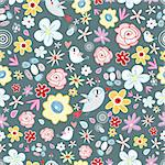 Seamless bright floral pattern with birds on a dark background Stock Photo - Royalty-Free, Artist: tanor                         , Code: 400-06100678