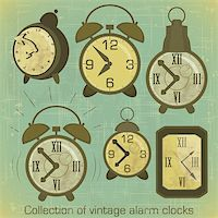 Collection of Vintage Alarm Clocks with Grunge Effect - vector illustration Stock Photo - Royalty-Freenull, Code: 400-06100818