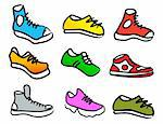 set of 9 colorful cartoon style shoes Stock Photo - Royalty-Free, Artist: CarpathianPrince              , Code: 400-06100976
