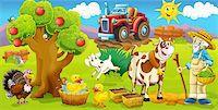 Cartoon style drawn farm Stock Photo - Royalty-Freenull, Code: 400-06101474