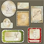 Vintage christmas label  and old paper set Stock Photo - Royalty-Free, Artist: 578foot                       , Code: 400-06101496