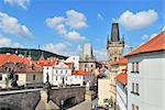Prague. View of the Lesser Town Towers against very beautiful sky Stock Photo - Royalty-Free, Artist: TatyanaSavvateeva             , Code: 400-06101548