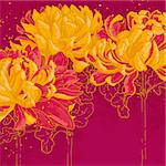 Abstract romantic vector background with three chrysanthemum. Stock Photo - Royalty-Free, Artist: jetFoto                       , Code: 400-06101930