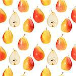 Abstract background with orange fresh pears. Isolated on white. Seamless pattern for your design. Close-up. Studio photography. Stock Photo - Royalty-Free, Artist: boroda                        , Code: 400-06102084