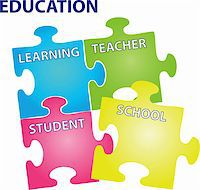 Vector illustration of puzzles with words on the topic of education. Stock Photo - Royalty-Freenull, Code: 400-06102149