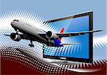 Blue dotted background with Flat computer monitor with passenger airplane image . Display. Vector illustration Stock Photo - Royalty-Free, Artist: leonido                       , Code: 400-06102239