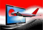 Blue dotted background with Flat computer monitor with passenger airplane image . Display. Vector illustration Stock Photo - Royalty-Free, Artist: leonido                       , Code: 400-06102240