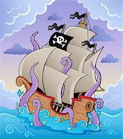 sailing boat storm - Pirate ship with tentacles in storm - vector illustration. Stock Photo - Royalty-Freenull, Code: 400-06102563