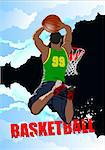 Basketball players poster. Colored Vector illustration for designers Stock Photo - Royalty-Free, Artist: leonido                       , Code: 400-06102708