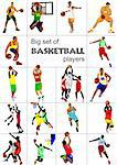Big set of Basketball players. Vector illustration Stock Photo - Royalty-Free, Artist: leonido                       , Code: 400-06102709
