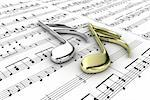 Two musical note on a  background written notes Stock Photo - Royalty-Free, Artist: FotoVika                      , Code: 400-06102807
